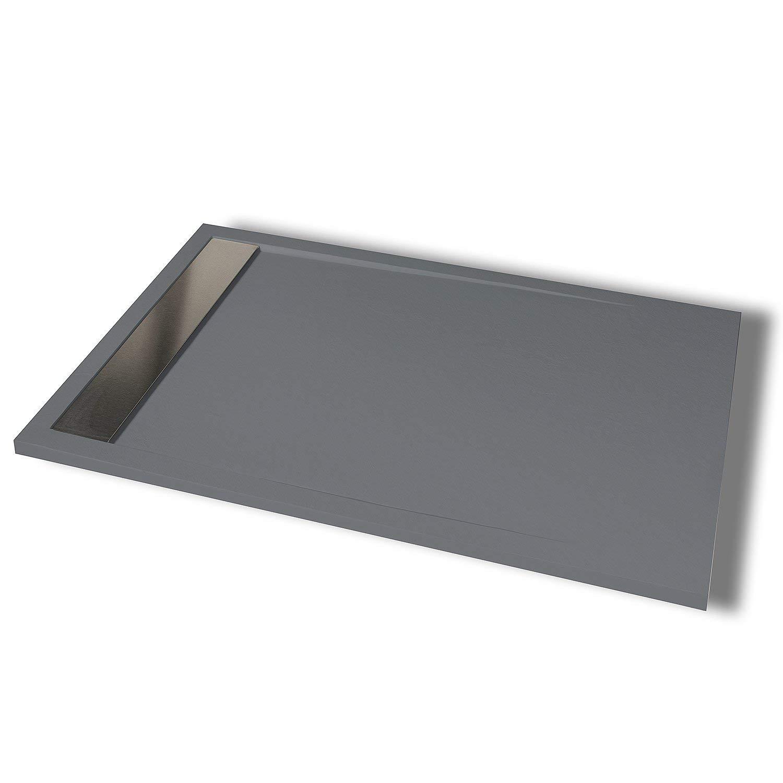 Festnight Plato de Ducha Rectangular de ABS Color Negro 70 x 90 cm